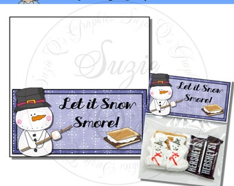Let It Snow Smore Topper - Digital Printable - Immediate Download