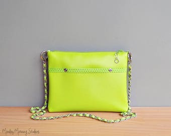 Lime Green Vegan Purse, Choose Your Bright Bold Colors,  Handmade Faux Leather Handbag with Silver Chain Strap, Custom Vinyl Crossbody Bag,
