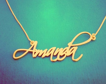 Christmas Sale! Pretty Little Liars Necklace 14k Gold Name Necklace Amanda Real Gold Necklace Order Any Name!  Pure Gold Name Chain