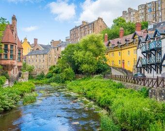Edinburgh Photography Print, Dean Village, Scotland, landscape, historic center, contryside, town, river, lights, scottish, highlands