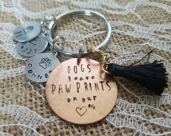 Dog/pet keychain with personalized pet names and quote