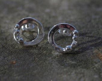 Asymmetrical Orbital Studs, Hammered Open O Ear Posts Sterling Silver Ear Posts Silver Stud Earrings Organic Asymmetrical Ear Posts