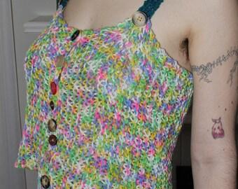 Multicolored Handmade Knit Button Tank Top