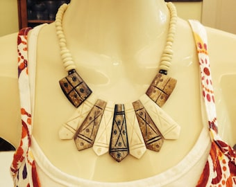 Ceramic Trapezoid Tribal Choker Necklace