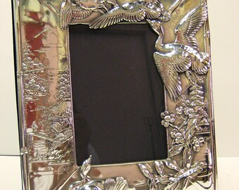 "Large, Sterling Silver  Picture Frame. ""Geese""  handcrafted."