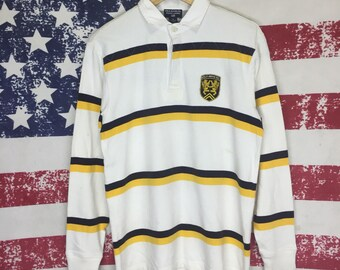 Rare!!vintage 90s POLO RALPH LAUREN polo T/stripe long sleeve/medium size