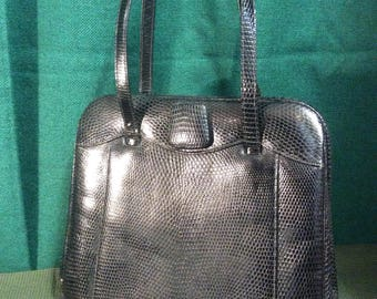 1940s/50s black tooled leather handbag