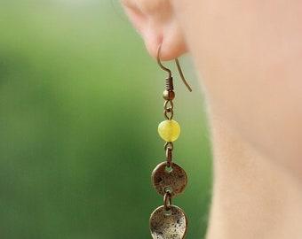 Brass Boho Earrings Tiny Green Agate Beaded Earrings Natural Stone Earrings Green Gemstone Earrings Dangle Bronze Tone Earrings Boho Jewelry