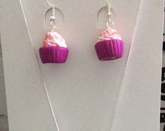 Fimo and Sterling Silver Cupcake Necklace & Earrings Set
