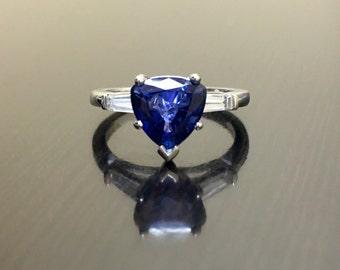Platinum Ceylon Blue Sapphire Diamond Engagement Ring - Art Deco Platinum Trillion Sapphire Diamond Wedding Ring - Blue Sapphire Ring