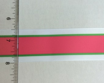 """White pink green preppy striped grosgrain ribbon 1.5"""""""