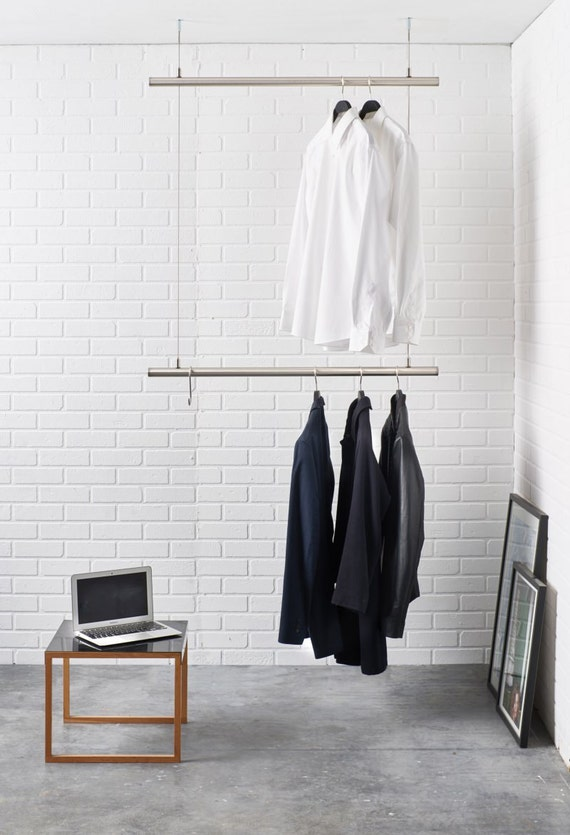 Hanging Clothes Rack Ceiling Mounted Design Clothes Rail In