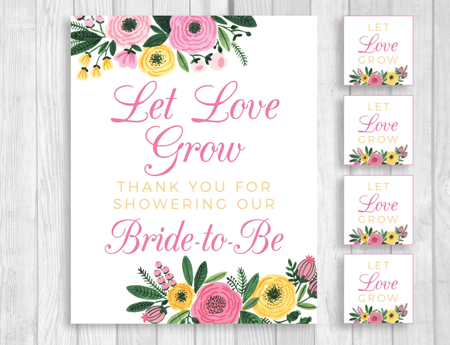 Let Love Grow 8x10 Printable Bridal Shower Sign Matching Seed