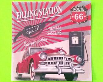 Vintage Route 66 Filling Gas Station Car Automotive Rockabilly Greaser Retro Road Trip Series Vinyl Sticker
