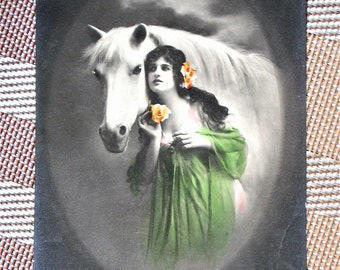 Vintage Postcard of a Lady w/ Her White Horse