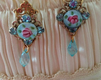 Vintage Guilloche Rose Aqua rhinestone Earrings