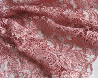 "Elegant Bridal Fabric Venise Embroidered Wedding Gown Lace FABRIC in Antique Pink 35"" wide Half Yard"