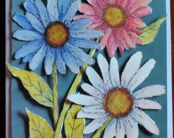 Daisies Card Watercolor Daisy Dimensional Card Watercolors Greeting Cards Watercolor Cards Watercolor Flowers Watercolor Daisy Card
