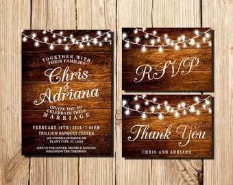 WEDDING INVITATION, Printable Wedding Invitation, Rustic Wedding Invitation, Marriage, Wedding, RSVP Card, Thank You Card