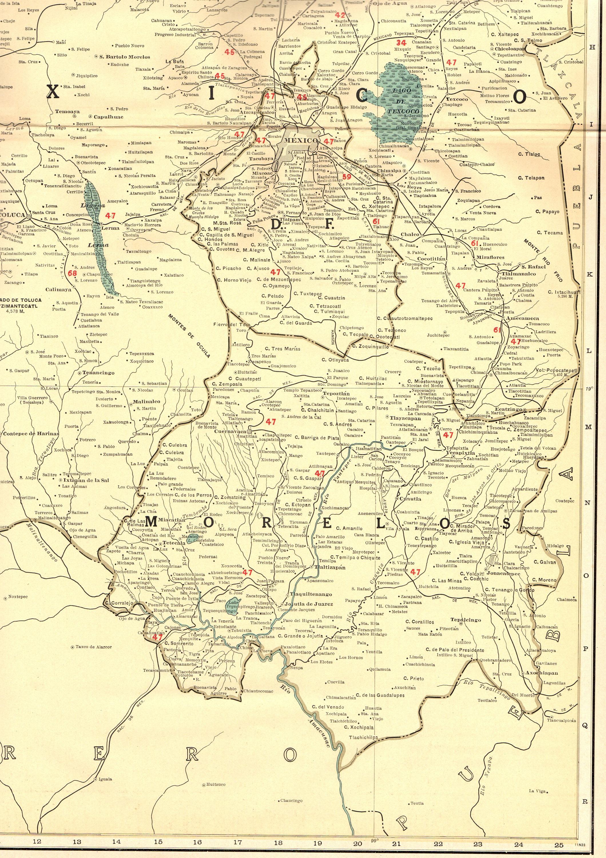 1927 Rare Size Antique Mexico Map of MORELOS Mexico Poster