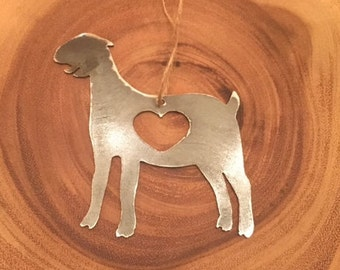 Rustic Recycled Steel Metal Goat Farm Christmas Ornament Holiday Gift