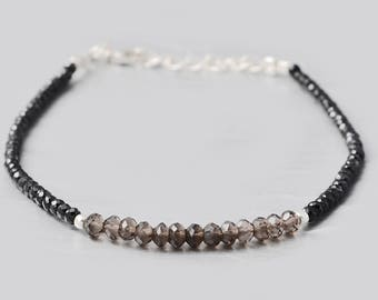 Black Spinel & Smoky Quartz Beads Layering Bracelet with 925 Sterling Silver Findings - Birthstone bracelet Gift for her- Dainty Bracelet