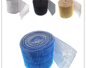 24 Row Acrylic Rhinestone Diamond Mesh Wrap Roll 10 Yards Cake Ribbon Banding Party Decorations Hanging Wedding Supplies