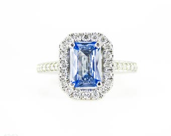 Sapphire & Diamond Engagement Ring in Platinum, Cornflower Blue Sapphire with Diamond Halo.