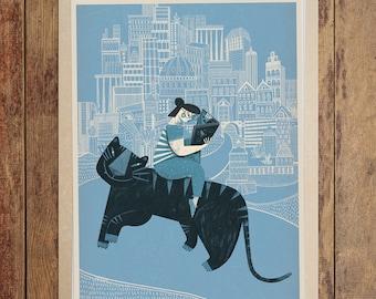 Children's illustration art: Blue Tiger. Giclée print on archival paper. A2 Poster.