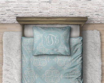 Monogram Boho Bedding - Personalized Bedding - Custom Duvet - College Dorm Bedding Set - Boho Bedroom