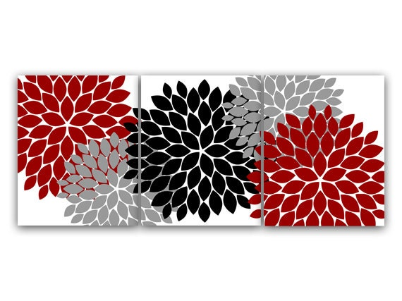 Home Decor Wall Art Red Gray Flower Burst Art CANVAS