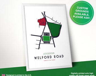 Welford Road, Home of Leicester Tigers Rugby, Rugby Poster, Stadium Print, Map, Welford Road, Leicester
