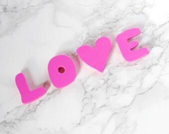 Set de 4 gommes - gommes amour - amour caoutchoucs - caoutchoucs roses - rose gommes à effacer