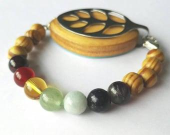Bellabeat leaf bracelet chakra bead bracelet to wear with Bellabeat Leaf wooden beads full chakra, bellabeat anklet