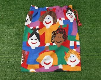 Happy kids library bag, storage bag or toy bag, large drawstring bag for kids