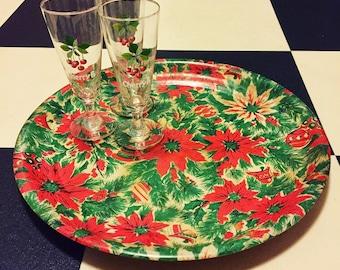 1960's Christmas Poinsettia Flower Drinks Serving Tray - Kitsch - Festive - Bamboo - Barware