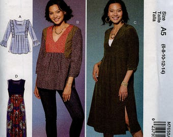 McCall's M7650 Tops, Tunics, and Dresses Pattern Size A5 (6-8-10-12-14)
