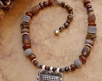Sapta Matrikas Antique Silver Amulet Necklace + India Goddess + Brown Gemstone Beads + Bali Silver Beads + Designer Jewelry + Ethnographic