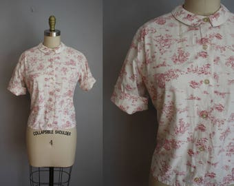 1950s Blouse // Red Toile Print // Medium