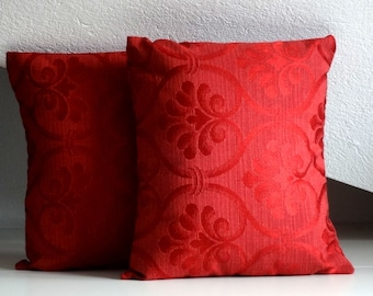 Red damask pillow, elegant pillow cover, 16x16 inches, decorative pillows