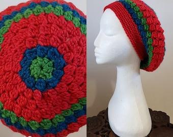 THE VINTAGE TAM Handmade 1940s Landgirl Boho Alpaca Wool Blend Crochet Knit Beret Hat Red Blue Green