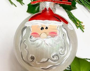 Santa Claus Painted Ornament - Santa Ornament, Santa Claus Ornament, Christmas Ornament, Christmas Ornaments, Personalize Custom Glitter