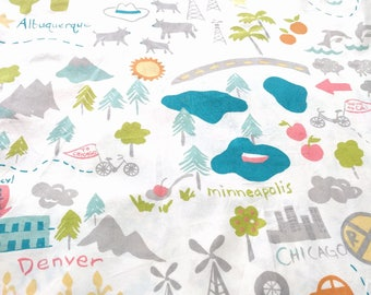 100% Certified Organic Cotton Mapped by Monaluna for Birch road trip map fabric 1/2 yard