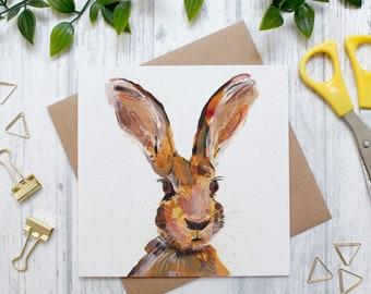 Hare Blank Greeting Card, British Countryside and Wildlife, Animal Greeting Card