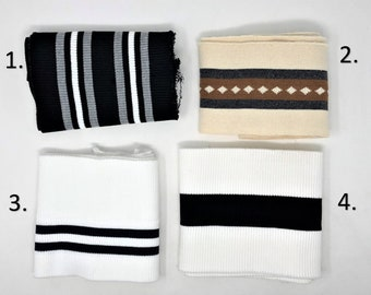 Extra Wide Rib Knit Striped Cuff Polyester/Cotton Binding Fabric for Jackets/Jeans/Acessories/Etc. Sold By Piece