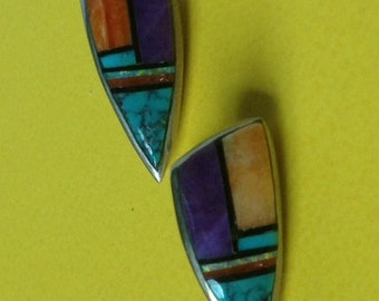 Vintage Native American Signed Sterling Silver Multi Stone inlay Earrings
