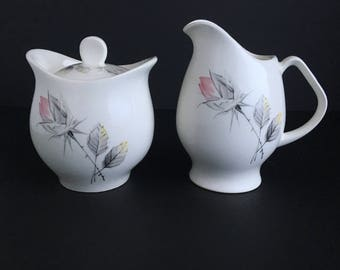 Vintage cream and sugar set, Princess Grace like pattern