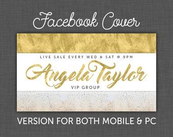 Custom Facebook Cover, Facebook Banner, Gold Foil, Facebook, Timeline Cover