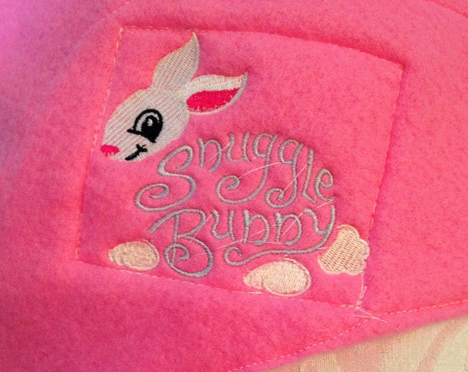 Nap mat cover Childs sleep mat cuddly bright pink flannel embossed roses back embroidered snuggle Bunny webbing easy fasten handled