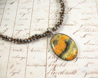 Sterling Silver Mounted Bumblebee Jasper Pendant on Woven Bead Necklace